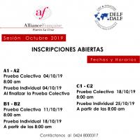 DELF / DALF OCTUBRE 2019. PRUEBAS COLESTIVAS E INDIVIDUALES