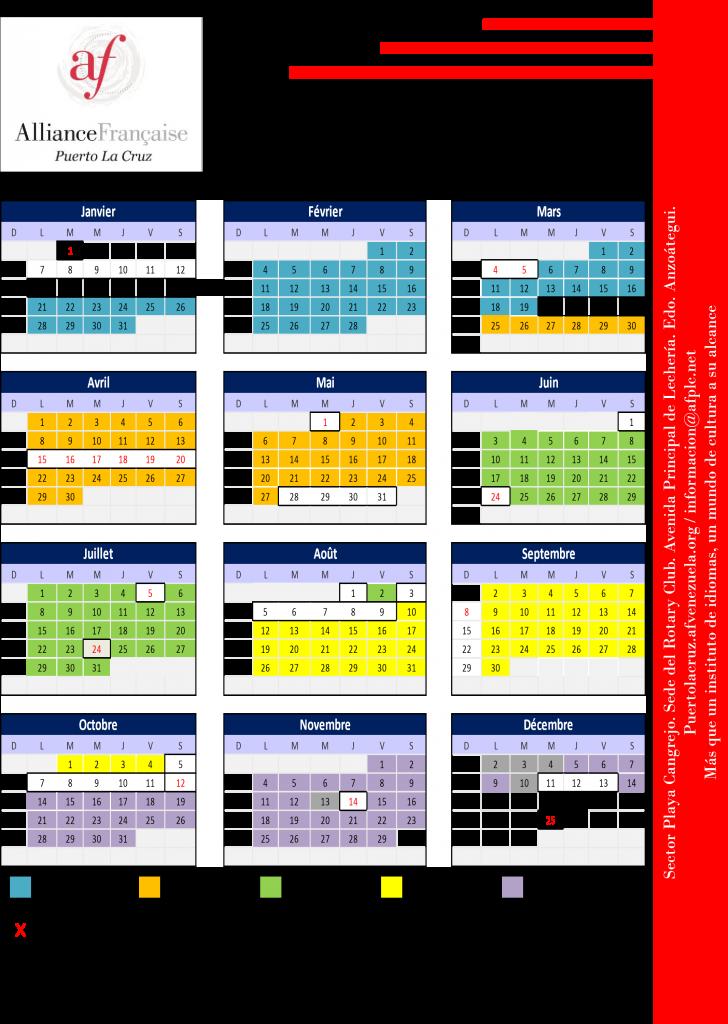 Calendario Frances.Calendario 2019 Alianza Francesa De Puerto La Cruz